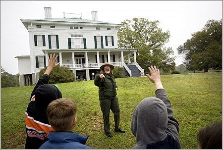 Photo: A tour group in front of Redcliffe Plantation (Credit: South Carolina State Parks)