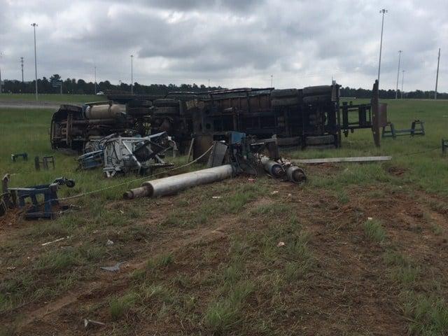 Overturned tractor trailer on Bobby Jones at Gordon Hwy