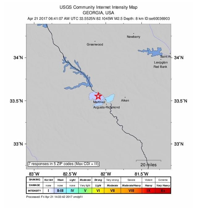 Evans earthquake 4/21/17 (WFXG)