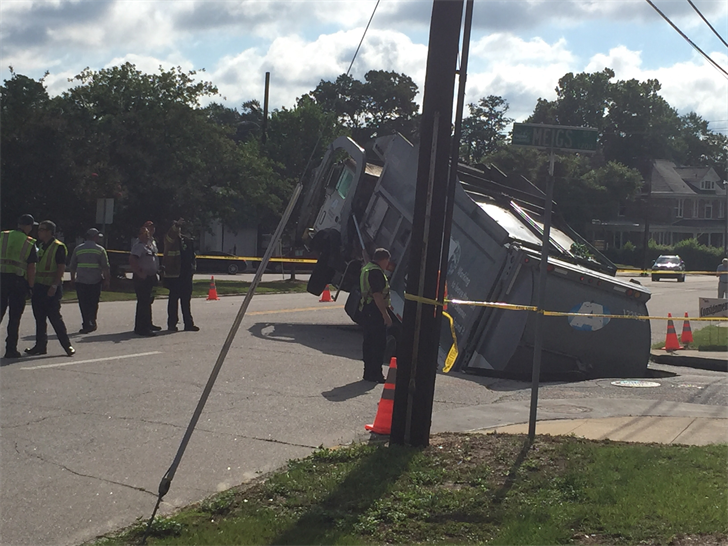 Garbage truck stuck in sinkhole on Central Ave.; Source: WFXG