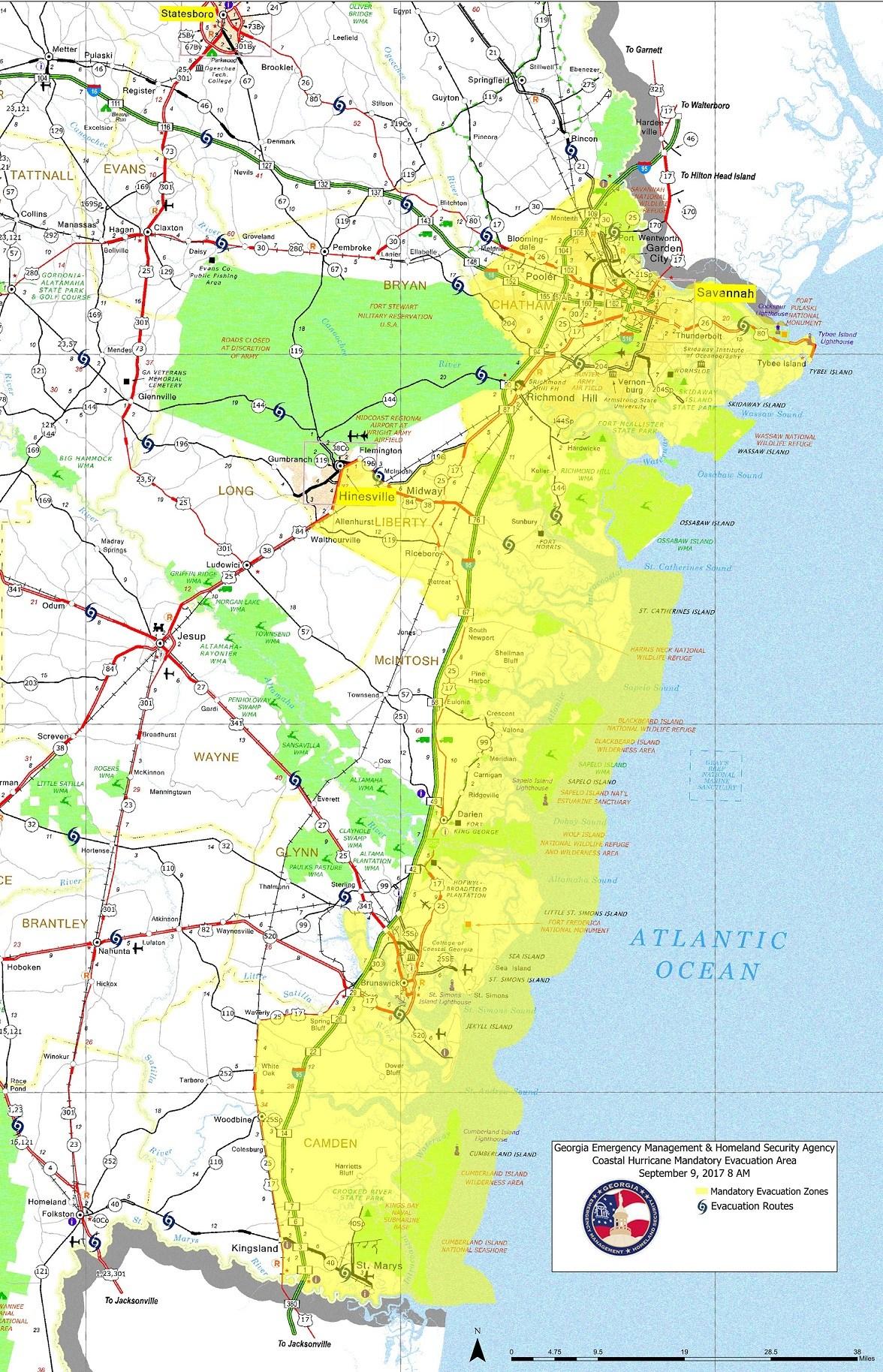 Mandatory Evacuation Zones (Source: Gov. Deals Communication Office)