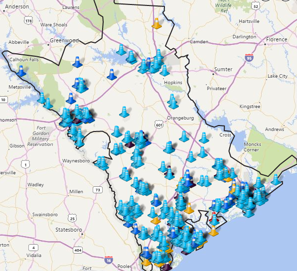 Power outages in South Carolina; Source: SCE&G