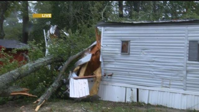 Tree down on a mobile home on Railroad Ave. in Grovetown. (WFXG)