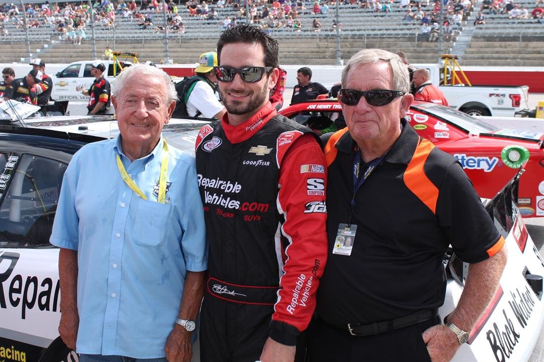 1960 NASCAR Champion Rex White (shown here L-R with Jeremy Clements and Gary Spurling) has attended the reunion every year. Although he never won at the track, he was always a factor. Darlington, 2016 (source: Doug Allen)