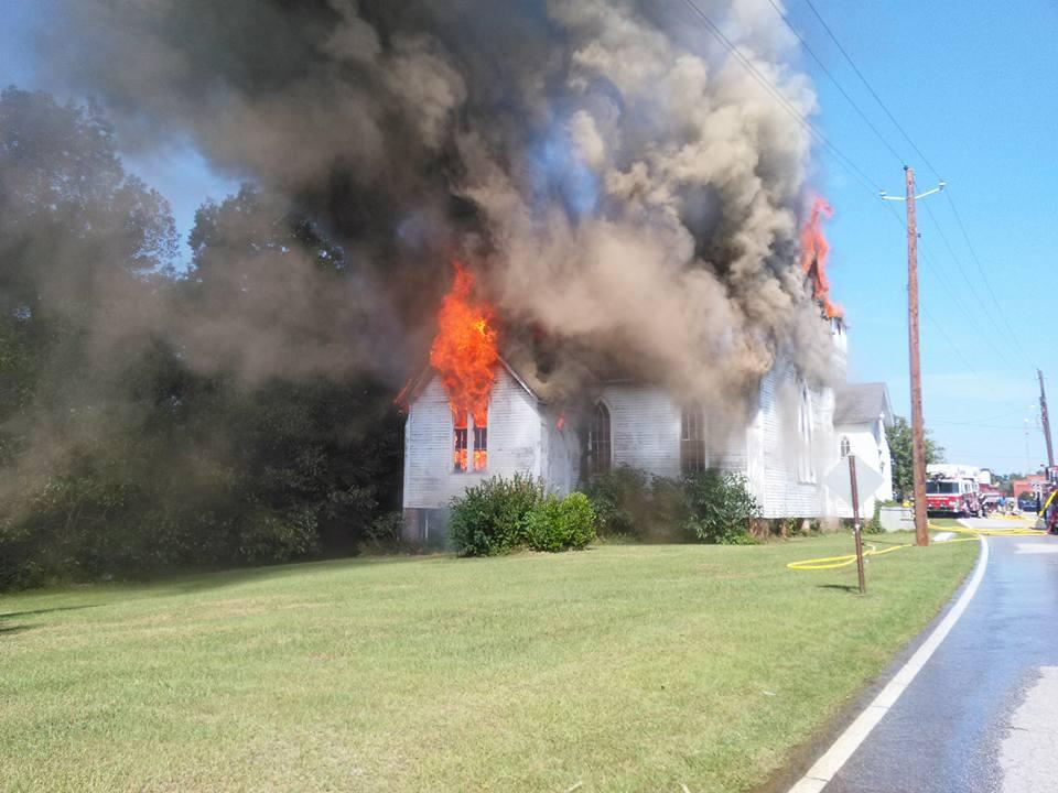 Waynesboro historic church fire; Source: Burke County Sheriff's Office