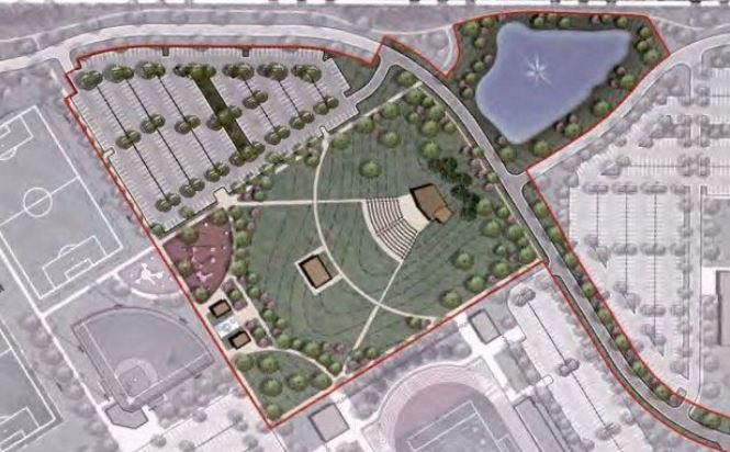 An overhead of the park, as imagined by city architects; City of Aiken.