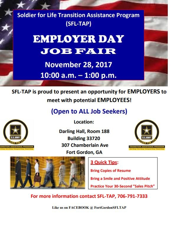 Ft. Gordon Employer Day job fair flyer; Source: Fort Gordon