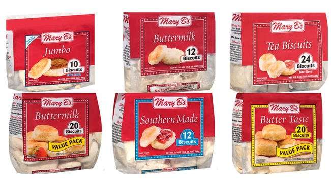 More than a dozen Mary B's-brand biscuits were recalled on Jan. 9, 2018, due to possible Listeria contamination.