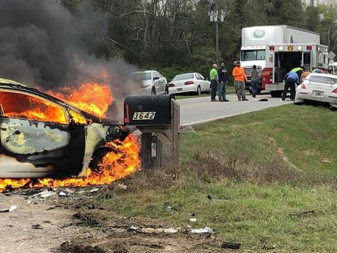 Scene of crash on River Rd. at Hwy. 80 in Burke County 3/5/18 (source: Burke County Sheriff's Office)