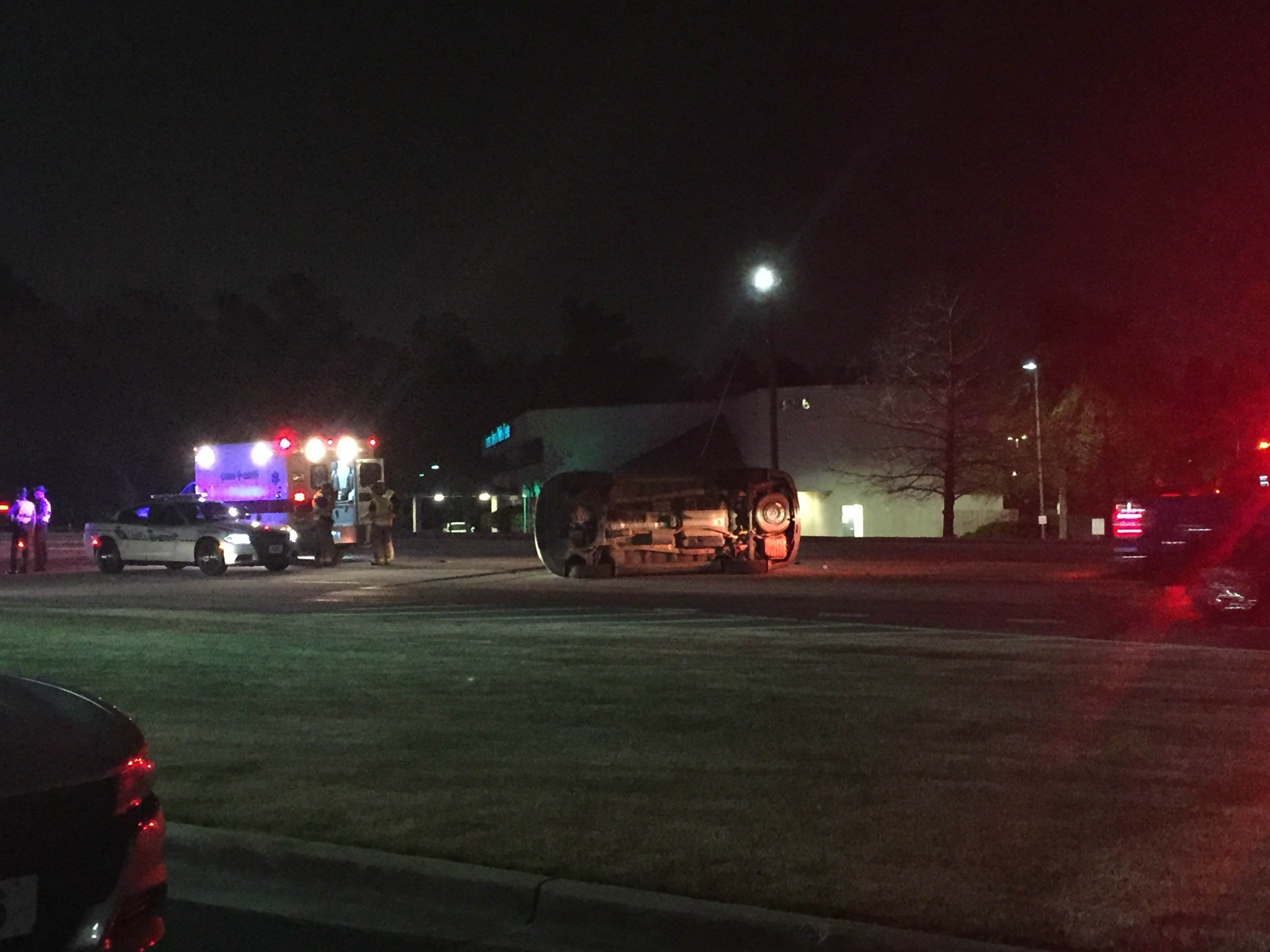Rollover crash on Columbia Rd. in front of Kroger in Martinez 3/5/18 (WFXG)