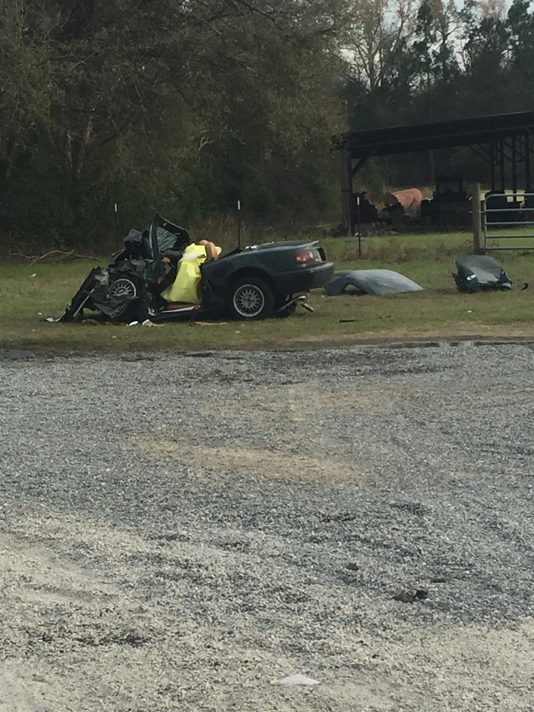 Miata driven by Franz Schultz in deadly crash on River Rd. 3/5/18 (WFXG)