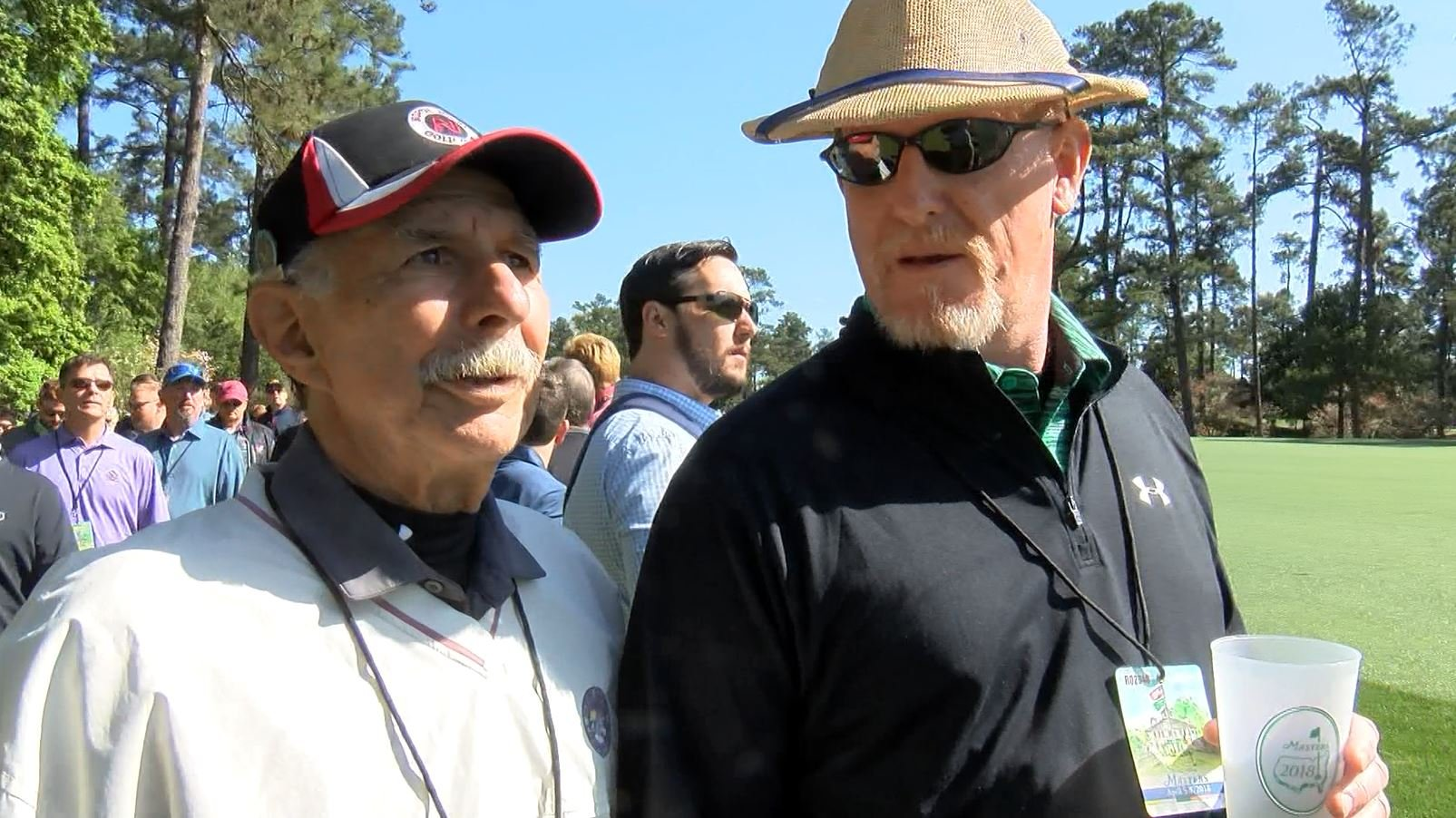 Mark Weaver and Tony Fiore following Tiger Woods' gallery at the 2018 Masters (WFXG)
