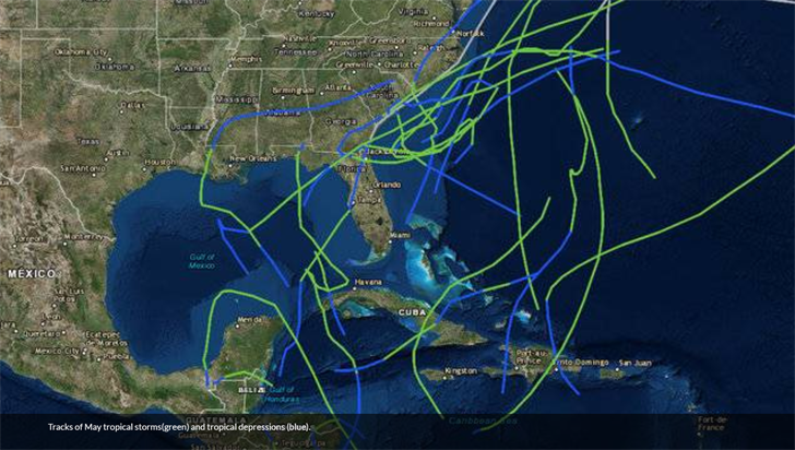Historic storm tracks for May tropical systems (NHC)