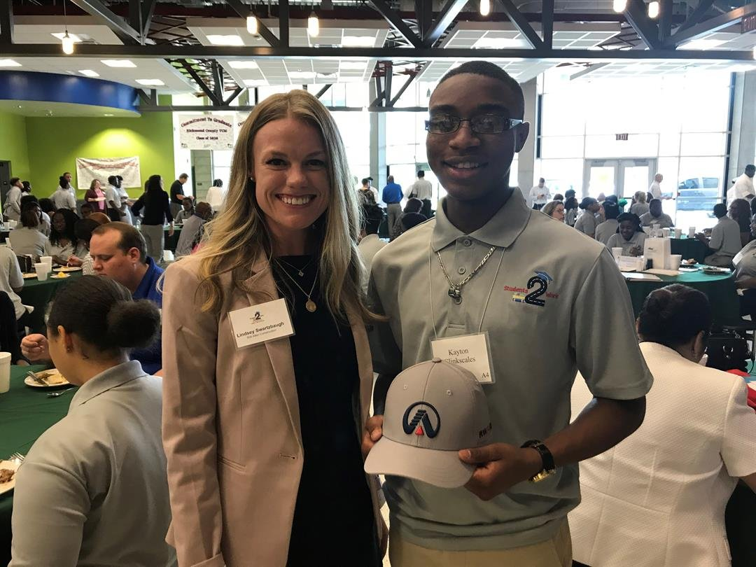 RA Allen's marketing director welcomes A. R. Johnson Magnet High School senior Kayton Clinkscales as their summer 2018 intern (Source: WFXG)
