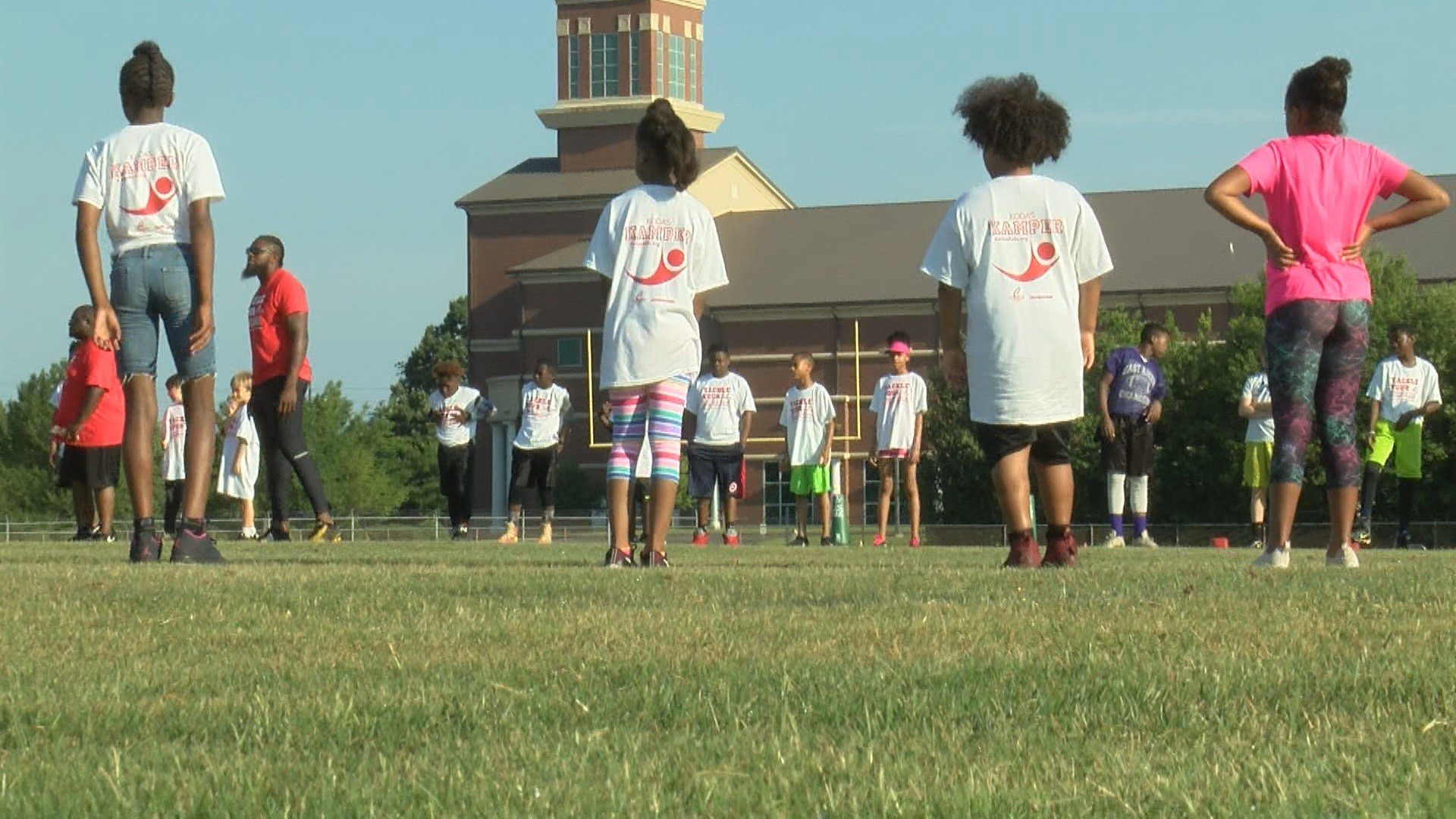 Several kids showed up for Koda's Kids Foundation's 9th Annual Football and Cheer Camp earlier today at South Aiken High School.  This event was free to kids, all they had to do was bring canned good donations. (WFXG)