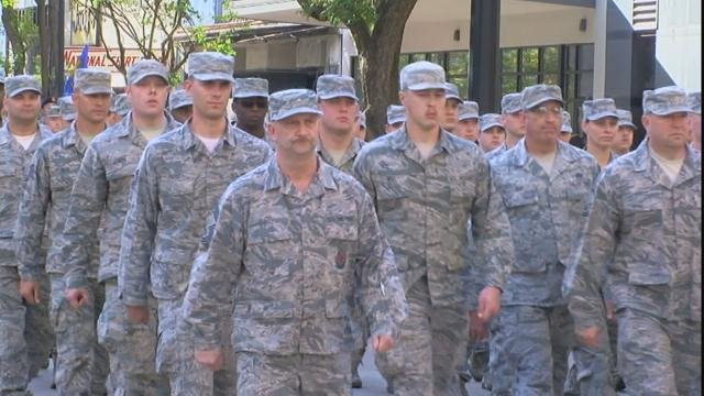 Soldiers march at Fort Gordon (WFXG)