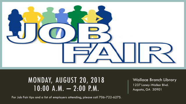 Job Fair on Monday, August 20 at Wallace Branch Library (Source: Wallace Branch Library)