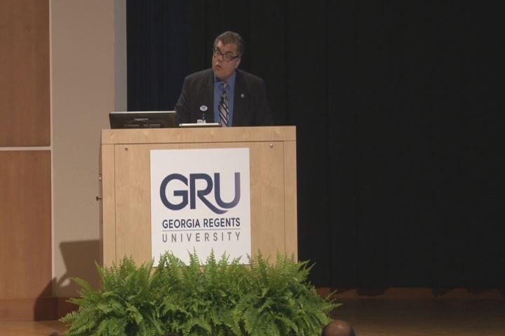 File photo: GRU President Dr. Ricardo Azziz speaks in April at the school.