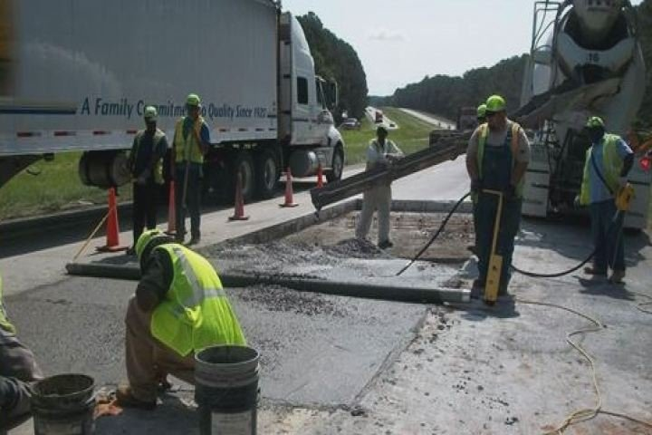 Crews work to repair a slab on I-20 eastbound in Columbia County. (Source: GDOT)