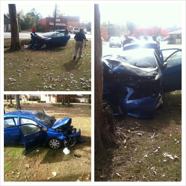 The car that authorities were chasing in Hephzibah crashed. (Source: Hephzibah Police)
