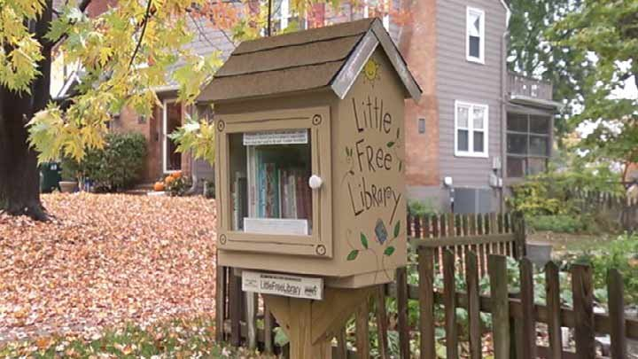 """Little Free Libraries,"" like this one in Kansas, are popping up all over. There are an estimated 12,000 worldwide. (Source: KCTV)"