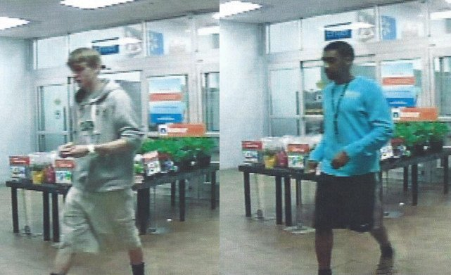 These two men are wanted in connection with a string of car break-ins. Investigators identified the man on the left as Christopher Griffin. The man on the right has not been identified. (Source: Aiken Co. Sheriff's Office)