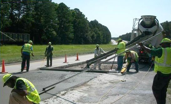 Concrete slab repair on I-20 west. (Source: GDOT)