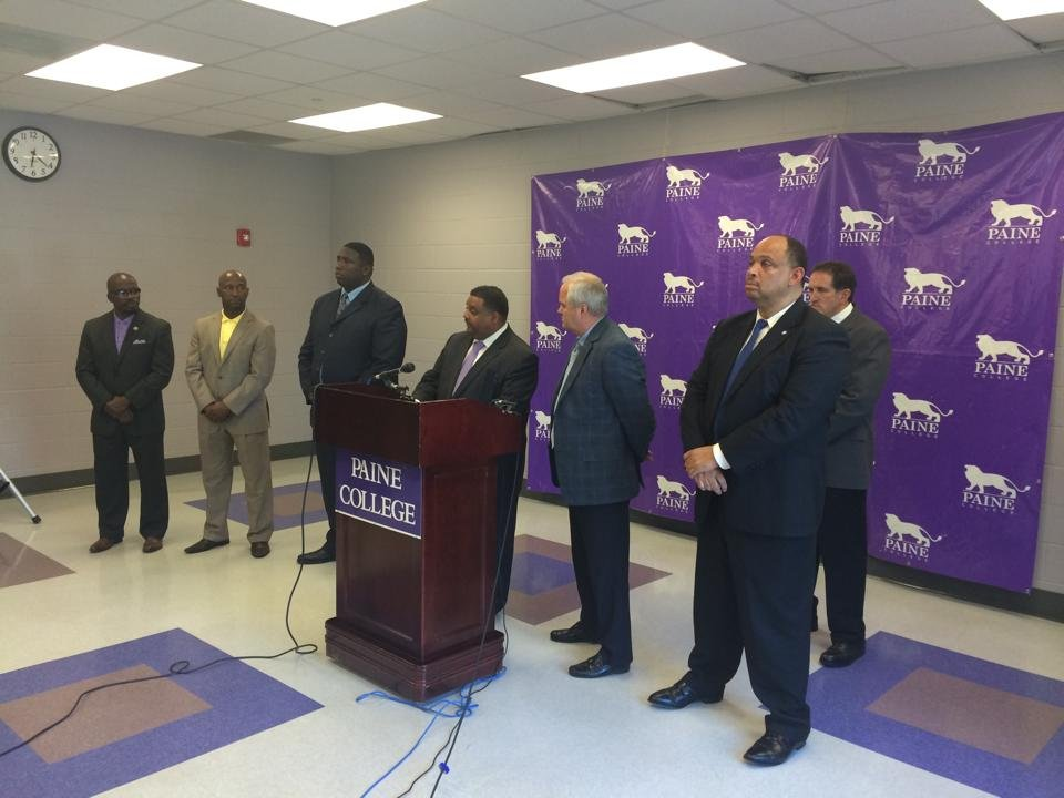 Paine College officials and law enforcement officials hold a press conference about Monday's shooting. (Source: Brandon Gates/WFXG)