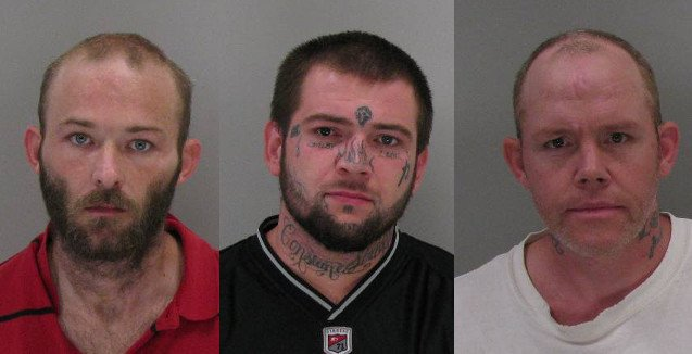 Jimmy Miller, Joshua Raines and Terry Bellew were arrested Monday in connection with burglaries and thefts at Diamond Lakes. (Source: Richmond Co. Sheriff's Office)