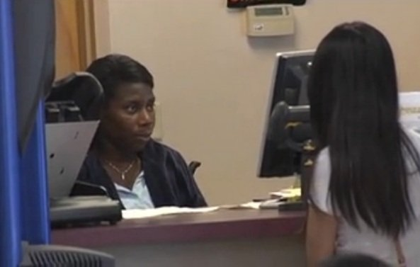 A Georgia driver renews her license at the Dept. of Driver Services in Augusta. (Source: WFXG)