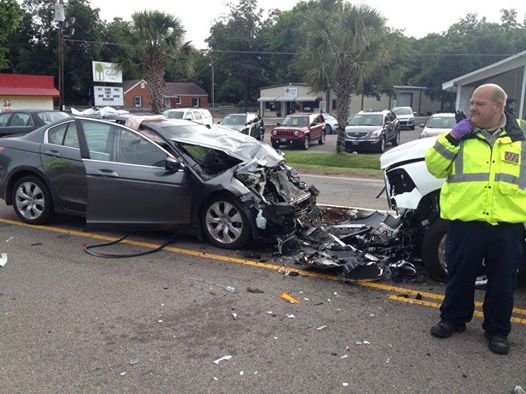 A wreck on Whiskey Road near Aiken Mall injured three people. (Source: Aiken Dept. of Public Safety)