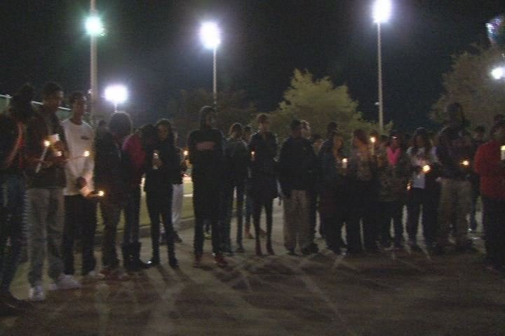 Students gathered at Diamond Lakes Park for a vigil in honor of Nicholas Dunn. (Source: WFXG)