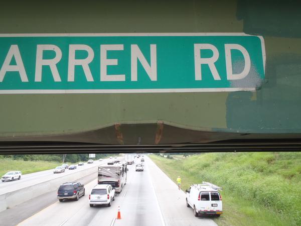 A support beam on Warren Bridge Road was damaged when an 18-wheeler's load hit it. (Source: GDOT)