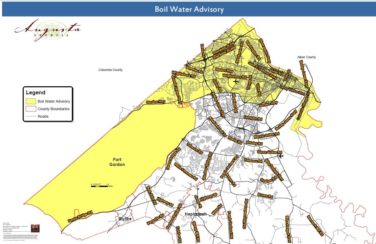 Map of impacted area (Source: Augusta Emergency Management)