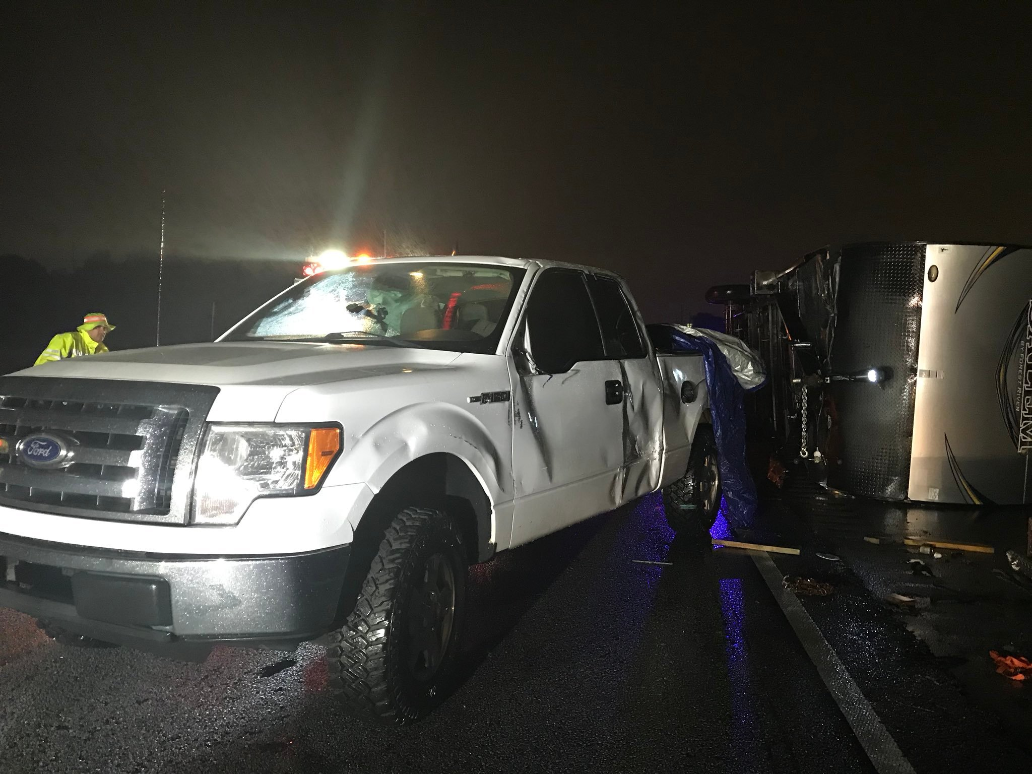 Family hospitalized after high winds flip truck and trailer to f - WTOC-TV: Sava...