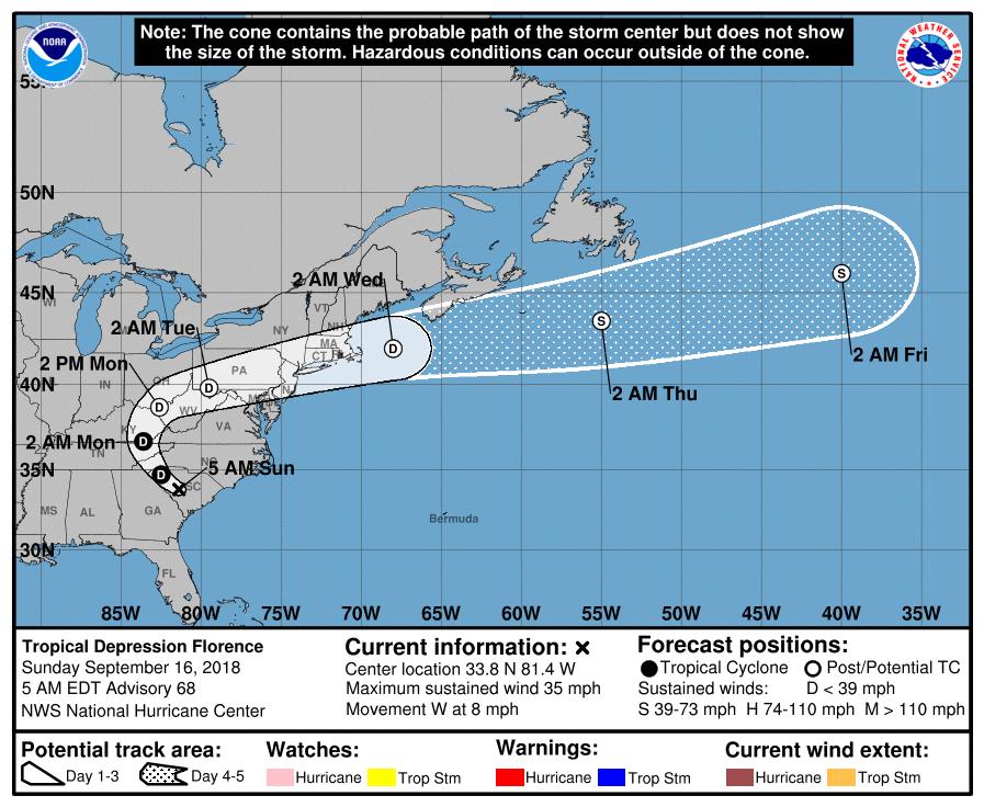 Tropical Depression Florence Track Forecast valid 5AM Sunday, September 16, 2018 (NOAA)