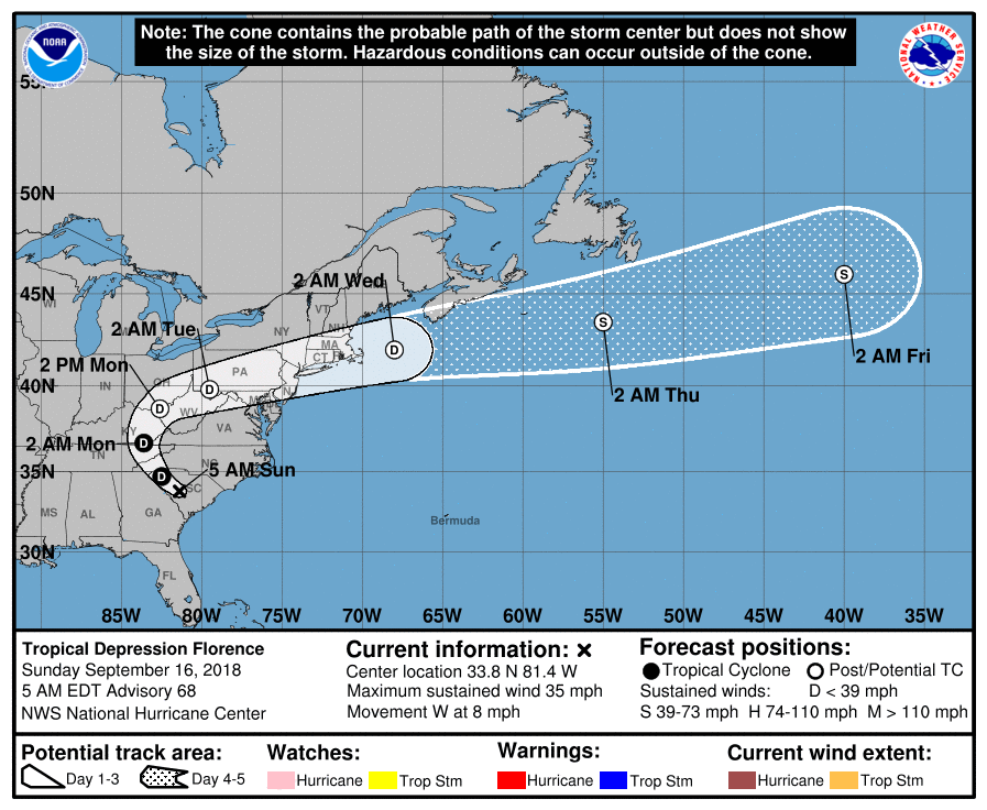 Tropical Depression Florence Track Forecast Valid 5am Sunday September 16 2018 Noaa